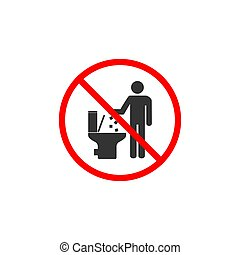 No toilet icon, No littering in toilet sign. Vector illustration, flat design.