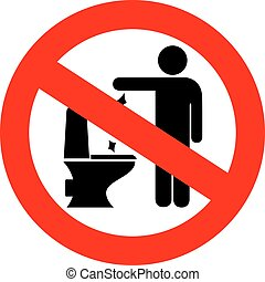 No toilet littering sign