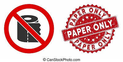 No Toilet Paper Icon with Distress Paper Only Seal