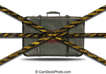 No travel to Spain due to Coronavirus, Covid 19. Vintage leather suitcase with flag of England. Restricted area lockdown