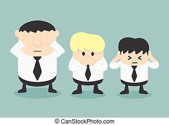 no, tre, male, vedere, sentire, uomini affari, male, parlare