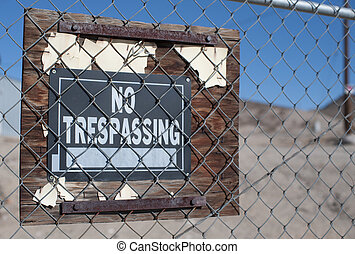 No trespassing sign on private land