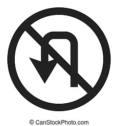 No u-turn prohibition sign line icon, Traffic and road sign,...