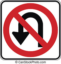 No U turn road sign on white background. Vector...