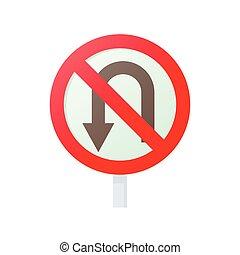 No U turn road sign icon, cartoon style - No U turn road...