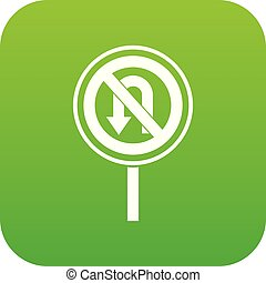 No U turn road sign icon digital green for any design...
