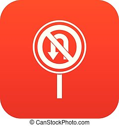 No U turn road sign icon digital red for any design isolated...