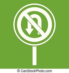 No U turn road sign icon green - No U turn road sign icon...