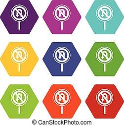 No U turn road sign icon set color hexahedron - No U turn...