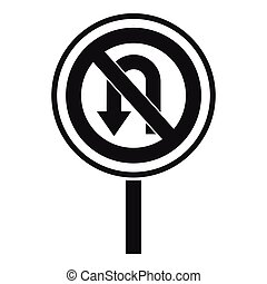 No U turn road sign icon, simple style - No U turn road sign...