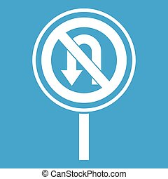 No U turn road sign icon white isolated on blue background...