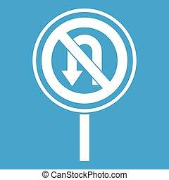 No U turn road sign icon white isolated on blue background...