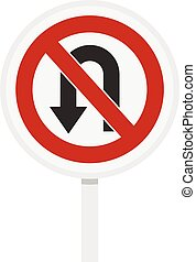 No U turn traffic sign icon, flat style - No U turn traffic...