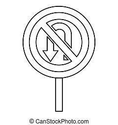 No U turn traffic sign icon, outline style - No U turn...