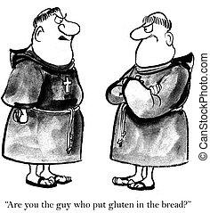 no, uno, como, gluten, monjes