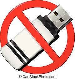 No USB pen drive sign isolated on white background