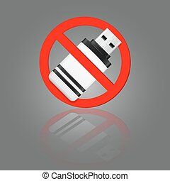 No usb stick sign - No usb stick red vector sign