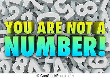 no, usted, individuo, único, número