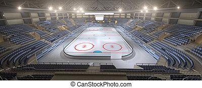 no, vacío, gente, interpretación, hockey, estadio, 3d