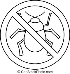 No virus bug icon, outline style