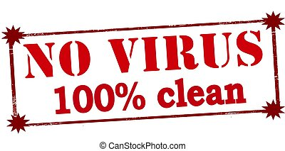 No virus one hundred percent clean - Rubber stamp with text...