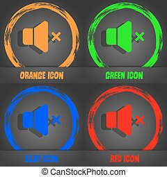 No Volume icon. Fashionable modern style. In the orange, green, blue, red design. Vector