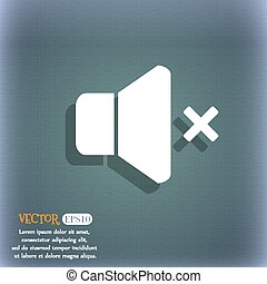 No Volume icon. On the blue-green abstract background with shadow and space for your text. Vector