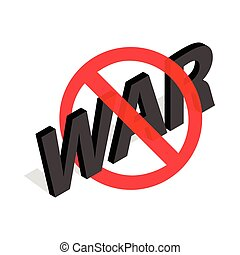 No war sign icon in isometric 3d style