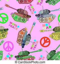 No war. Tank seamless pattern.