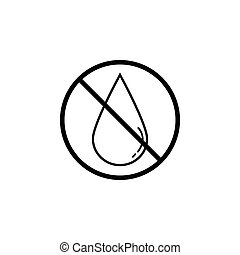No water drop line icon, prohibition sign