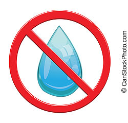 No Water drop sign icon.