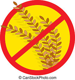 A red circle outline with a slash through it, is superimposed over stems of wheat, clearly indicating NO WHEAT.