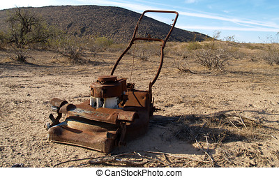 No where to Mow - An old lawn mower abandoned in the Arizona...