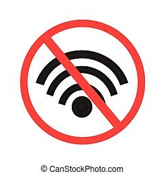 No wi-fi signal sign vector