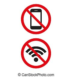 No Wifi sign and no phone sign on white background. Vector...