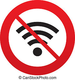 No Wifi sign. Wi-fi symbol. Wireless Network. - No Wifi...