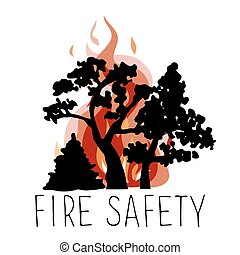 No wildfire vector icon. Silhouettes of trees on a...