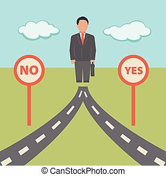 No Yes solution. Concept business illustration