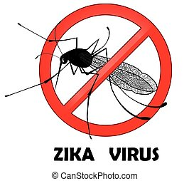 No zika mosquito gnat insect vector sign.