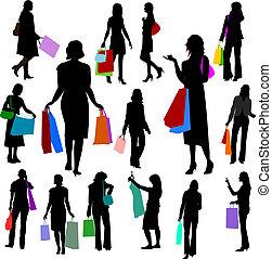 no.2., -, emberek, bevásárlás, nők