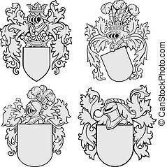 no4, aristocrático, conjunto, emblemas