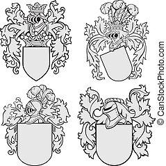 no4, aristocratique, ensemble, emblèmes
