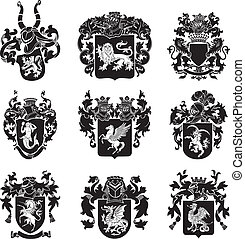 no4, héraldique, ensemble, silhouettes