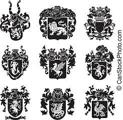no4, heraldisch, set, silhouettes