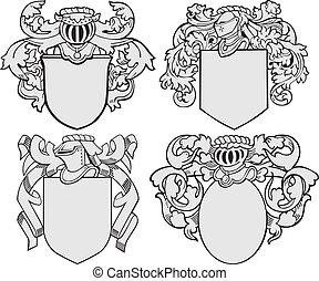 no5, aristocratique, ensemble, emblèmes