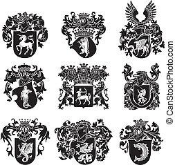 no5, heraldisch, set, silhouettes