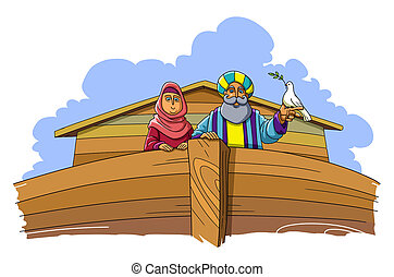 Noah and his wife are standing in the ark, Noah holds a dove with a branch on his hand