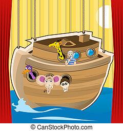 noah, ark, spotprent, illustratie