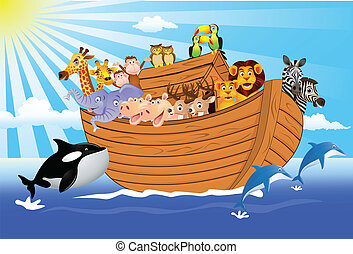 Noah Ark - Vector illustration of animal in the ark