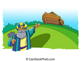 Noah points at the built ship, the ark, which is supposed to save everyone from the flood
